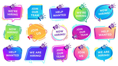 We are hiring banners. Join our team, help wanted inscription set with megaphone. Vacant job position with loudspeaker. Human resources offer for recruitment, work opportunity vector illustration