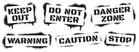 Warning sign stencil graffiti. Black ray paint danger inscription, alert grunge quote for caution and keep out, do not enter and danger zone, stop. Street art vector illustration