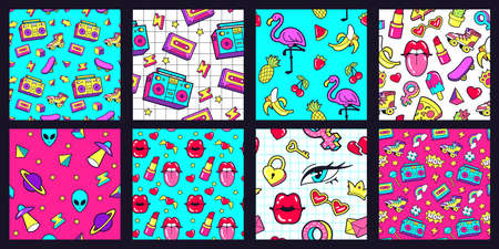 Seamless 90s pattern. Retro 80s pop fashion patterns with funky doodle stickers. Lips, music tape and pink flamingo vector illustration set. Watermelon and banana, cherry and pineapple 向量圖像