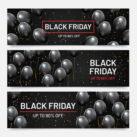 Black friday sale horizontal banners set. Flying glossy balloons with falling golden confetti. Discount for products in shop, big sale up to 90 percent off advertisement vector illustration 向量圖像