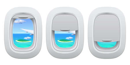 Airplane porthole view. Plane open and closed window inside view for island in ocean. Traveling by aircraft concept, going on vacation. Airplane wing with greenery and water outside 向量圖像