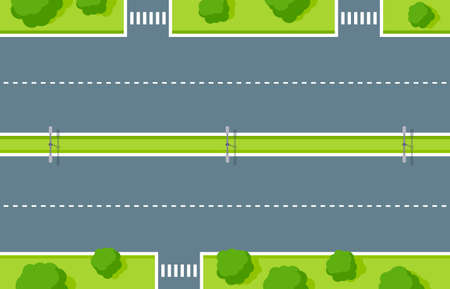 Empty highway top view. Road asphalt with pedestrian crossing, white dashed stripes, lightning and green zone with trees and bushes. Road marking for vehicles and walkers vector illustration