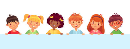 Children peeking out from wall, diverse cheerful kids laughing and smiling. Teenager characters with different hairstyle. Funny boys and girls with pink cheeks and nose vector illustration 向量圖像