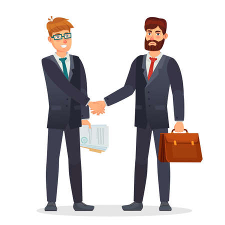 Business people shaking hands. Partners making deal, having contract agreement. Document signing for money investment. Business meeting. Characters holding briefcase and documents vector illustration Banco de Imagens - 152001044