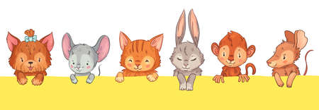 Cartoon animals looking out. Cute dog with bow, mouse, cat and rabbit, monkey and rat. Adorable furry pet heads with funny smiling faces, pink cheeks and closed eyes vector illustration