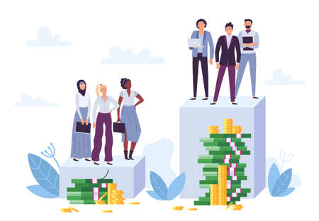 Gender gap and inequality in salary. Woman discrimination, sexism and injustice. Diverse female employees having lower position and money pile. Man business workers having bigger salary vector