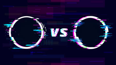 Versus glitch sign with VS letters. Battle, sport competition, match or challenge. Confrontation or fight symbol in distorted style with circles. Trendy glitch effect vector illustration