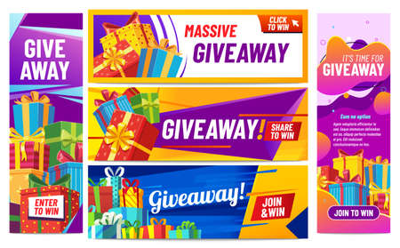 Giveaway colorful banners. Giving gifts, present boxes with ribbons. Winning award or prize in contest for social media posts. Internet blogger announcement, random quiz vector illustration 向量圖像