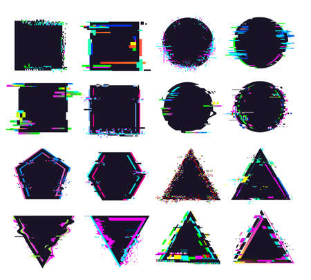 Glitch black frames of different shape. Distorted signal, square and round, triangle and polygonal figures. Destroyed geometric shapes set with noise for logo isolated vector illustration 向量圖像
