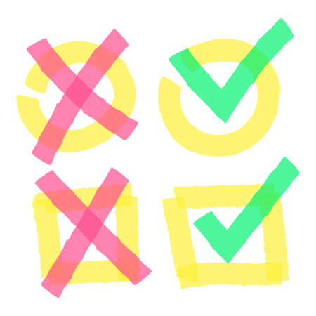 Color highlight marker check marks. Doodle green ticks and red crosses in circle and square boxes. Hand drawn bright correct and wrong signs in yellow box isolated vector illustration 向量圖像