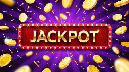 Jackpot banner with falling gold coins and confetti. Casino or lottery advertising template. Winning money, Prize in gambling game. Congratulations with dollars vector illustration