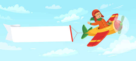 Kid on airplane with banner. Child pilot flying in plane among clouds in sky. Little boy having flight with empty banner with place for text. Aviation transportation vector illustration