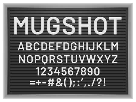 Mugshot letter board. Black frame with white plastic changeable letters and numbers for messages, vector mockup for banner or menu signs. Alphabet, numbers and punctuation marks illustration