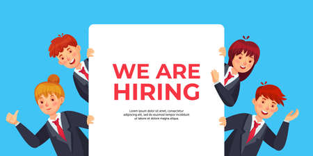 Business people look out of banner with text we are hiring. Human resources offer for recruitment, work opportunity, searching new candidate or employee for position vector illustration