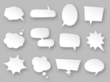 Thought balloons. Paper speech bubbles, white communication messages clouds, dream tag, discussion labels, blank dialog chats vector set in different shapes oval, rectangular, cloud