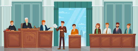 Judicial process. Public hearing and criminal procedure in court or tribunal with judges, lawyer and jury. Courtroom interior vector concept. Attorney giving speech to judge, convict sitting 向量圖像