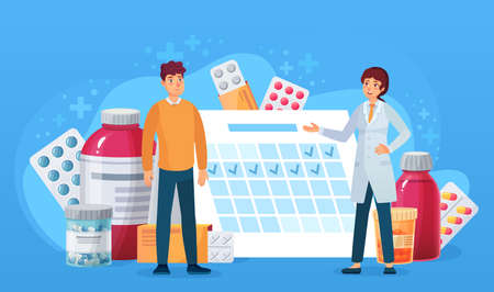 Medication calendar. Doctor and patient standing at calendar with pills. Treatment schedule cartoon medical, healthcare vector concept. Doctor prescribing drugs as capsule, tablet and syrup Banco de Imagens - 152001066