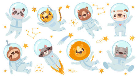 Animals astronauts. Space team cute animal in space suits, starry universe with cosmonauts for childrens print flyer vector characters set. Panda and tiger, bear and dog, sloth and raccoon lion, cat