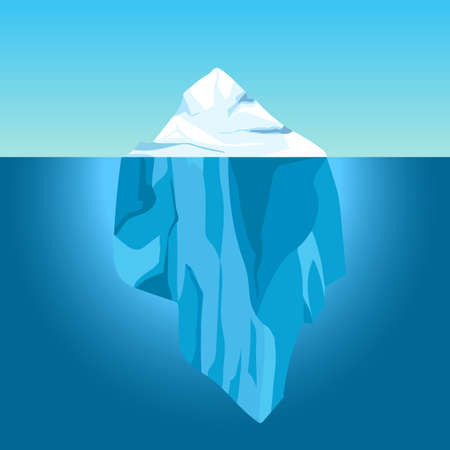 Cartoon iceberg in water. Big iceberg floating in ocean with underwater part. Clear water with ice mountain, global warming vector concept. Antarctic north sea with ice with top above water