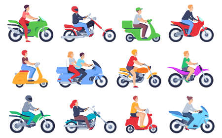 Motorcycle riders. Men and women drivers in helmet on moped, motorbike. Fast delivery food courier, family on scooter cartoon vector set. Female and male characters riding bike isolated Ilustração