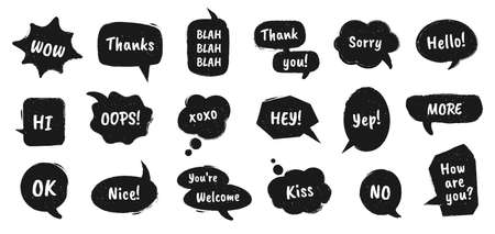Textured speech bubble. Doodle drawn balloons with chat dialog words for online message comments vintage talk stickers vector set with phrases as thank you, sorry, hello, kiss for communication
