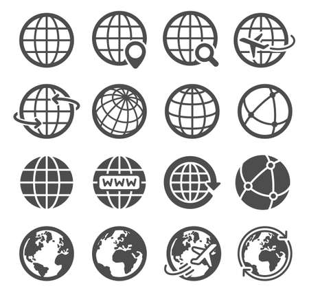 Earth globe icons. Worldwide map spherical planet, geography continent contour, world orbit global communication tourism logo vector symbols. Internet search, flying plane pictograms 向量圖像