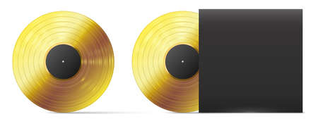 Golden vinyl record. Realistic gold vinyl disc, successful audio record musical album award template, vector illustration. Black cover for plate. Gramophone shiny play disc for music 向量圖像