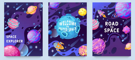 Fantasy planets kids posters. Multicolor cosmic objects, space galaxy world design for flyer, magazine, poster or book cover vector set. Welcome to outer space, exploration on rocket or spaceship