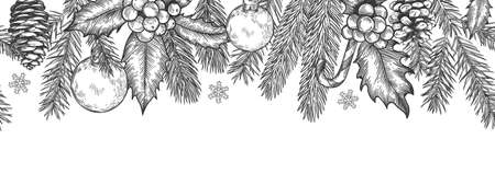 Xmas seamless green border. Horizontal banner with christmas tree branches garland, holly berries and toys, element for festive vector card. Engraved spruce twigs with candy cane and snowflake