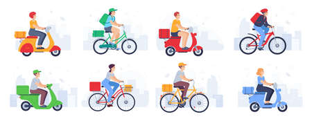 Scooter delivered. Guy courier in helmet on bike carries parcel, fast food. Delivery product with moped in urban landscape vector set. Woman and man characters with backpack, hat on bicycle