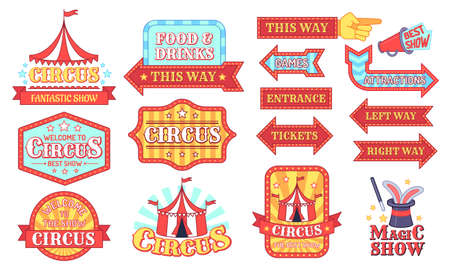 Circus labels. Carnival and circus show invitation badges, entertainment festival signboard with text, events vintage tag cartoon vector set. Food and drinks, tickets, entrance arrows. Magic show sign