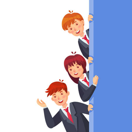 Business people look out. Characters woman and man standing at wall, children look together, school child vector illustration