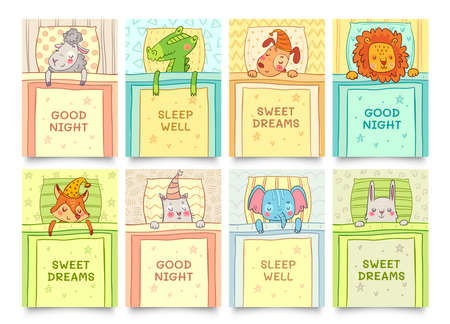 Sweet dreams card with sleeping animals set. Animal sleep sweet, bunny dreaming, crocodile sleeping. Vector illustration