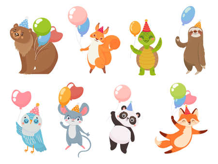 Animals with balloons. Animal greeting party with air balloons, bear and turtle, panda celebration birthday funny, vector illustration