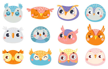 Cute owl faces. Set of face owl fun, drawing childish illustration, cheerful look and animal birds emotion vector