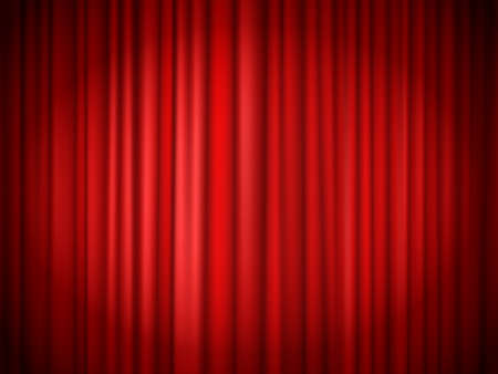 Red curtains background. Red curtain at stage for show, velvet presentation textile, concert theatrical elegant interior. Vector illustration Ilustración de vector