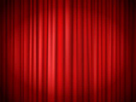 Red curtains background. Red curtain at stage for show, velvet presentation textile, concert theatrical elegant interior. Vector illustration Vektoros illusztráció