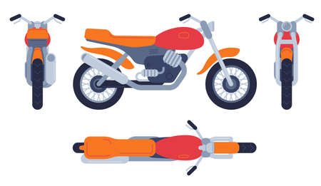 Motorcycle in different positions. Motorbike top, front back and side view, detailed motocross vehicles transport mockup vector set. Motorcycle and bike, motorbike transport illustration Ilustração Vetorial
