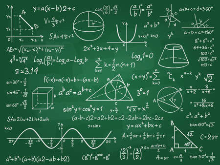 Math theory. Mathematics calculus on class chalkboard. Algebra and geometry science handwritten formulas vector education concept. Formula and theory on blackboard, science study illustration Vecteurs