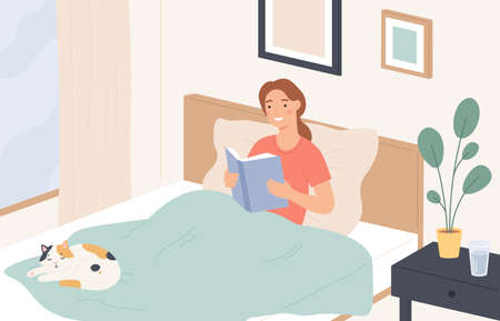 Woman reading in bed. Young girl reads book and relaxes on sofa. Lazy home rest, reading literature before sleeping, flat vector concept. Girl young in comfort bed with book and cat illustration