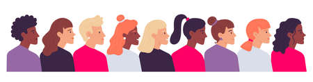 Profile women portraits. Diverse female heads side view. Cartoon characters of various nationality, having different hairstyle as ponytail, curly and straight hair vector illustration Illustration