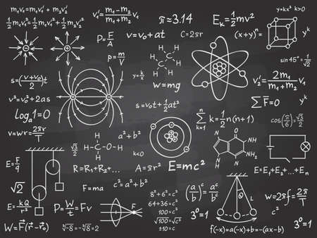 Scientific formulas. Mathematics and physics calculus on class chalkboard. Algebra and physical science handwritten vector education concept. Maths calculation on blackboard. Physics science theorem