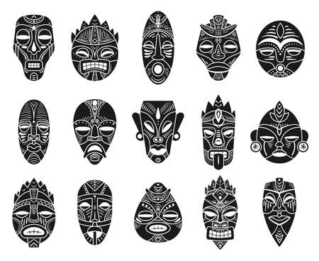 Idol mask. Monochrome black hawaii tiki tahitian ritual totem, exotic traditional culture antique mythology, ethnic ornament vector masks. Ceremonial african tribal mask shaped after human face