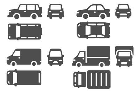 Car top side and front view. Vehicle projection, suv, minibus and truck auto icons for web, ui design outline transportation vector set. Different automobiles signs isolated collection Vektoros illusztráció