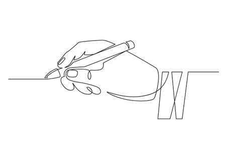 Hand with pen. Continuous one line businessman hand holding pencil and writing straight line. Minimal handwriting line concept. Worker signing contract, putting signature, writing or drawing