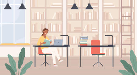 Woman in library. Young lady with book in public library reading room interior with laptop, bookshelves and desks education vector concept. Female bookworm learning or studying for university