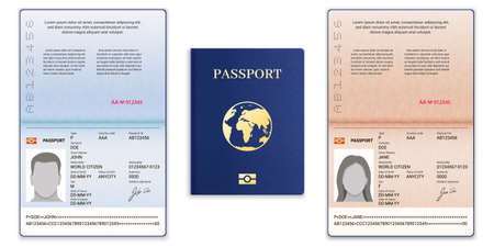 Passport template. International open passport with sample personal data page man and woman document for travel and immigration, vector set. Blue cover with globe, realistic id with information