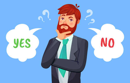 Man making decision, yes or no choice. Male person having dilemma. Guy in formal suit, office worker or businessman making up his mind, speech bubbles with pro and con vector illustration