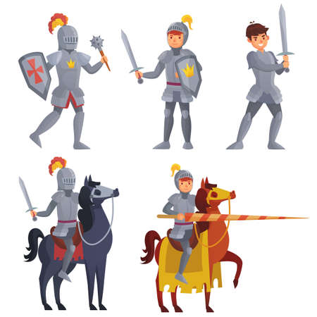 Medieval knight holding sword, royal knight with lance on horseback. Warriors with shield and mace for fighting in battle. Hero wearing armor isolated set. Fairy tale characters vector illustration