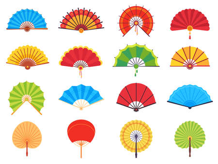 Handheld fan. Chinese or japanese paper ancient traditional fans, personal accessories and souvenirs flat vector set. Asian colorful cooling or folding hand fans of different shape